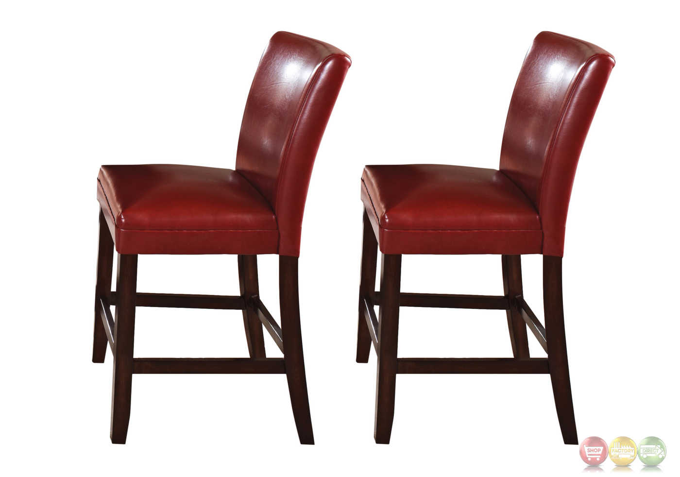 set of 2 hartford red leather upholstered counter height chairs. Black Bedroom Furniture Sets. Home Design Ideas