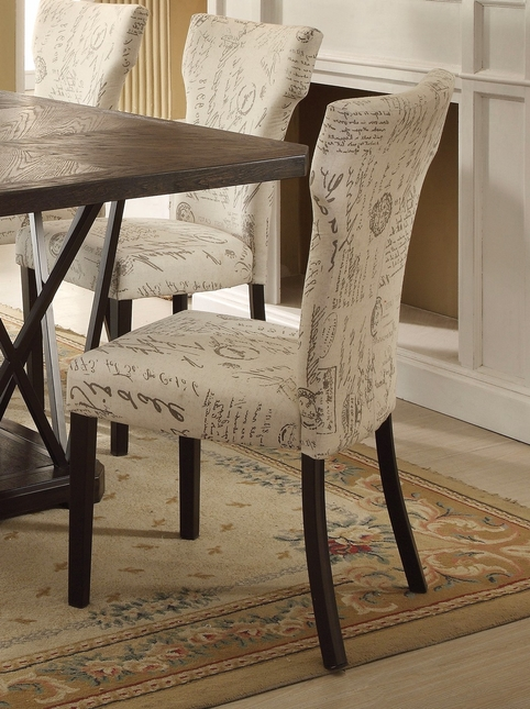 Set Of 2 Jamon Rustic Chic Patterned Fabric Parson Side Chair W Black Legs