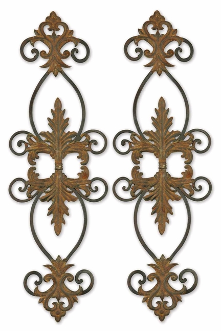Set of 2 Lacole Traditional Distressed Rust Brown and Aged Black Wall Art  13387