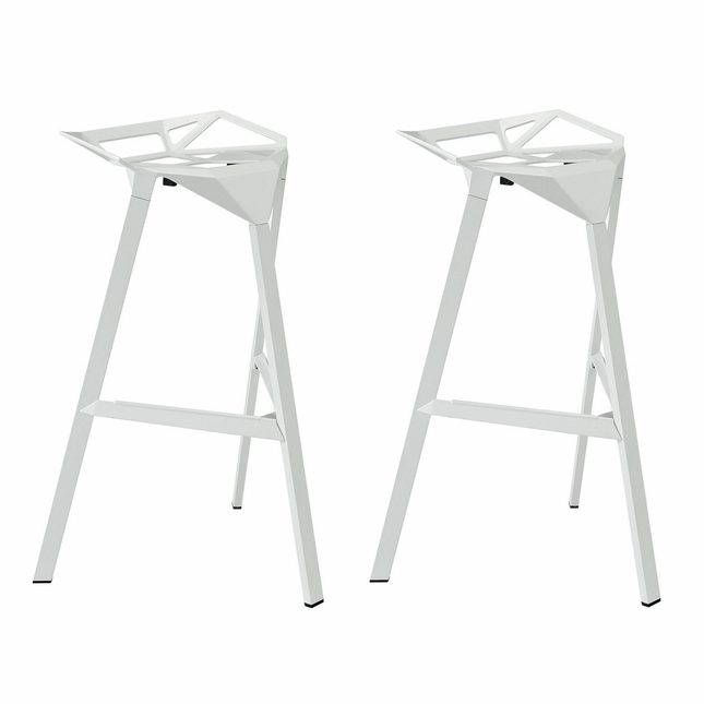 Set Of 2, Launch Geometrical Stacking Bar Stool w/ Coated Aluminum Frame, White