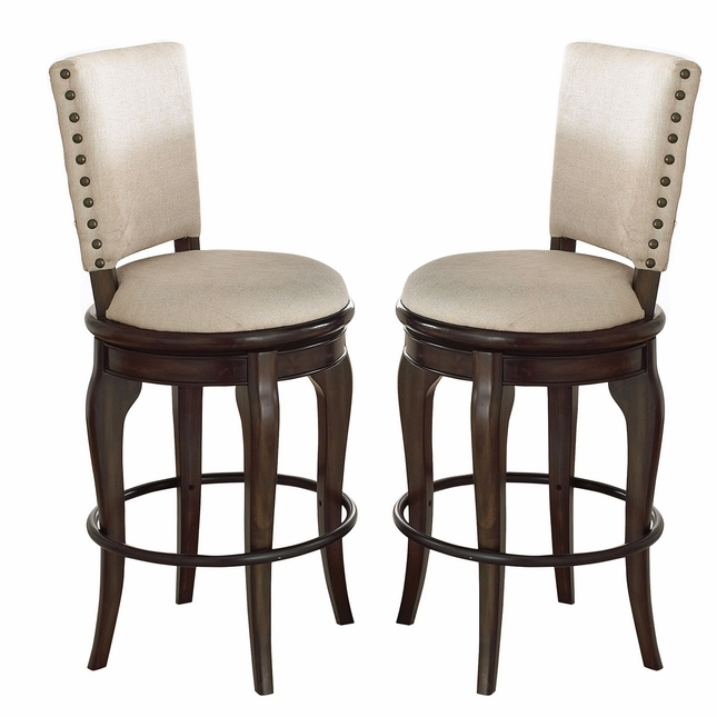 Set Of 2, Leona Old World Contemporary Charcoal Acacia Swivel Bar Chairs