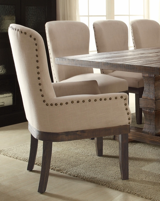 Set of 2, Leonel Rustic Beige Linen Arm Chair w/ Brown Distressed Wood Finish