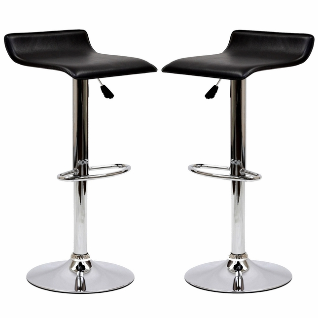 Set Of 2, Modern Bentwood Wave-style Vinyl Bar Stool w/ Chrome Base, Black