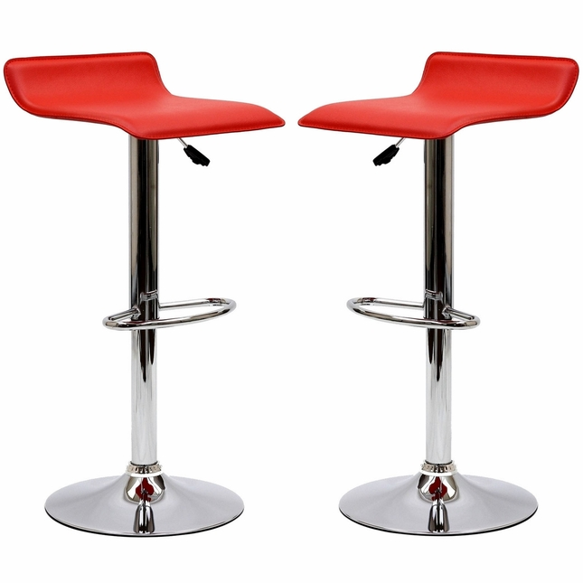 Set Of 2, Modern Bentwood Wave-style Vinyl Bar Stool w/ Chrome Base, Red