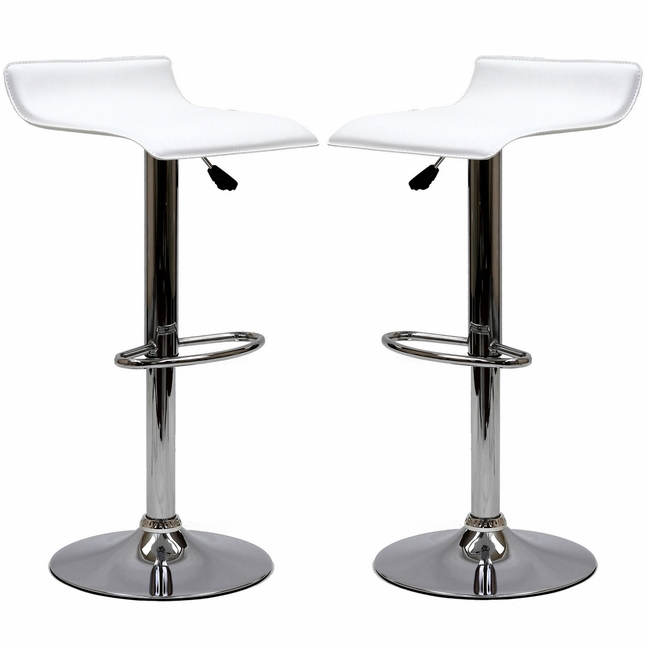 Set Of 2, Modern Bentwood Wave-style Vinyl Bar Stool w/ Chrome Base, White