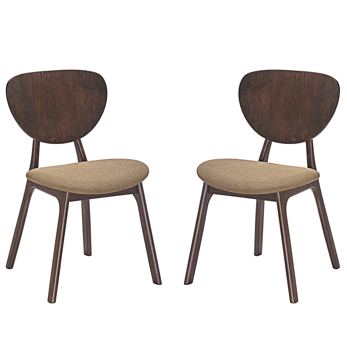 Set of 2 murmur vintage modern wooden dining side chairs for Walnut dining chairs modern