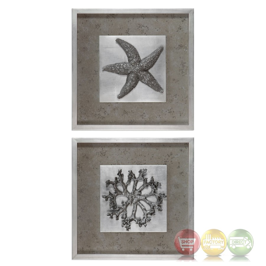 Wall Art Shadow Box : Set of nautical theme starfish coral d shadow box