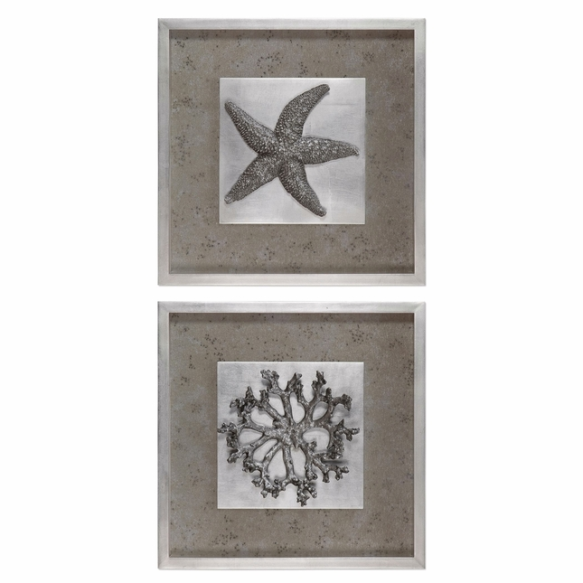 "Set of 2, Nautical Theme Starfish & Coral 3D Shadow Box Framed Wall Art, 20""x20"""