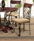 Set of 2,  Obasi Casual Cream Linen Side Chair w/ Cherry & Bronze Finish