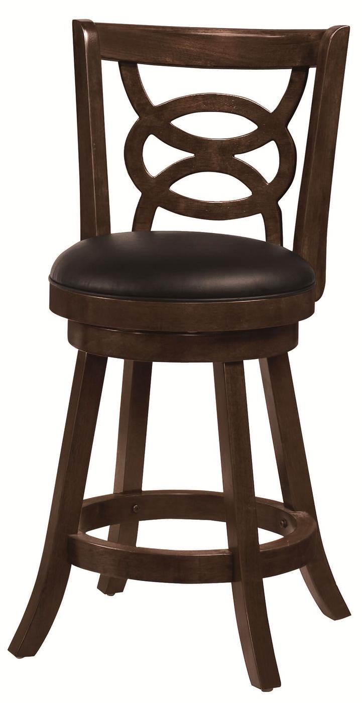 Set Of 2 Open Ring Design Cappuccino Swivel 24 Inch Bar Stools