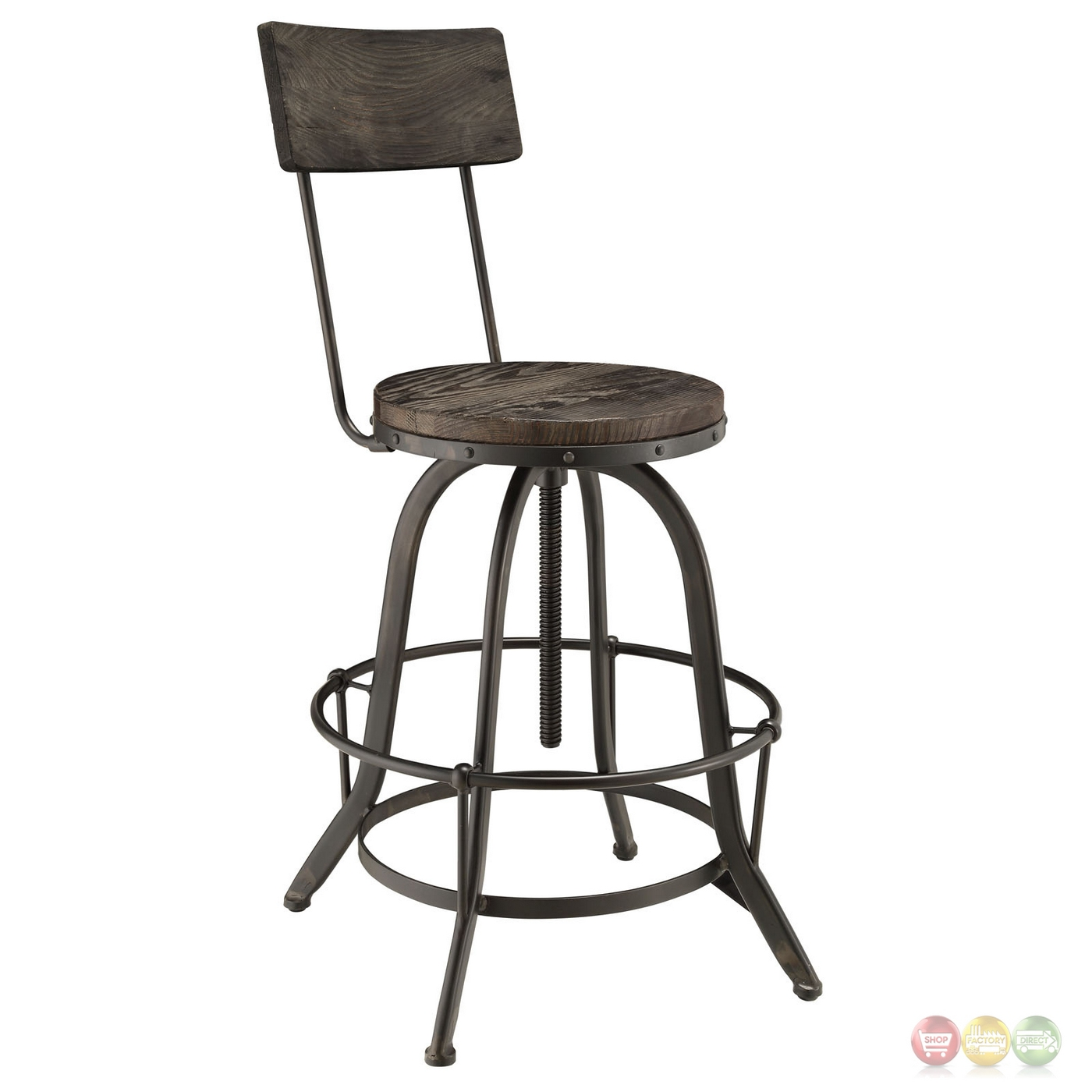 Set Of 2 Procure Industrial Bar Stool W Wood Seat Backs Cast Iron Frame Black
