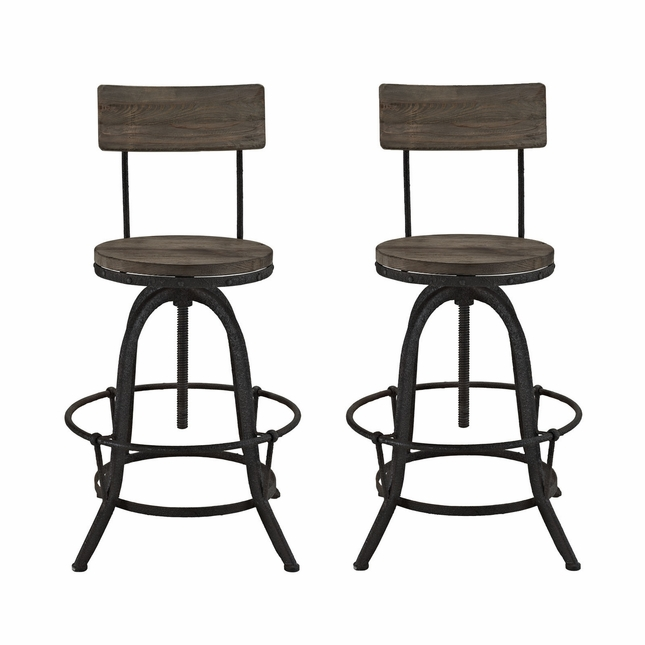 Set Of 2, Procure Industrial Bar Stool w/ Wood Seat Backs & Cast Iron Frame, Brown