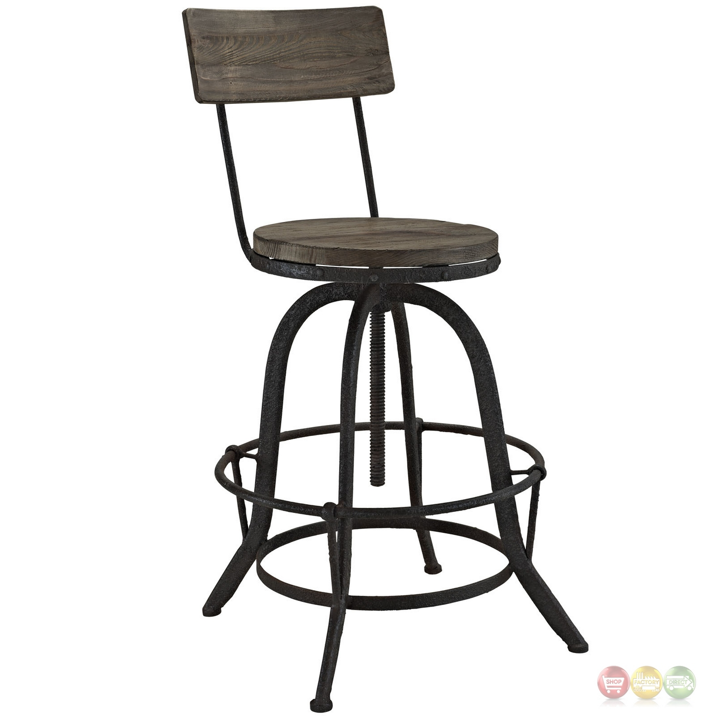 Set Of 2 Procure Industrial Bar Stool W Wood Seat Backs Cast Iron Frame Brown