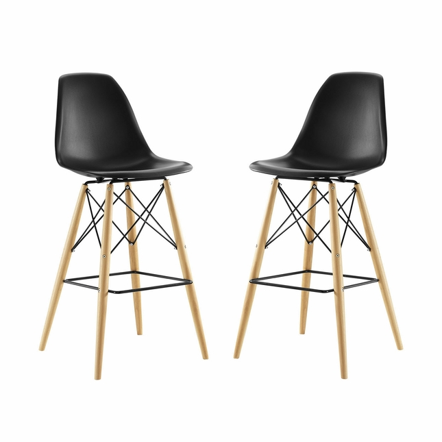 Set Of 2, Pyramid Deep Seat Molded Plastic Bar Chair w/ Wood Legs, Black