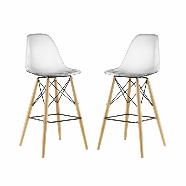 Set Of 2, Pyramid Deep Seat Molded Plastic Bar Chair w/ Wood Legs, Clear