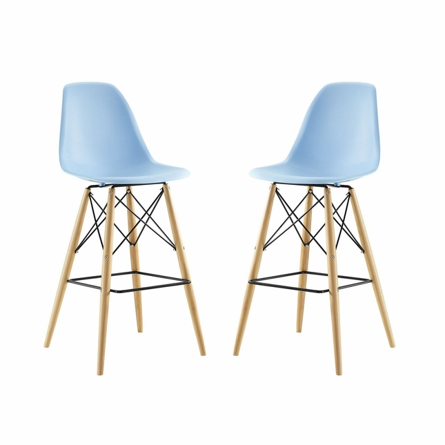 Set Of 2, Pyramid Deep Seat Molded Plastic Bar Chair w/ Wood Legs, Light Blue