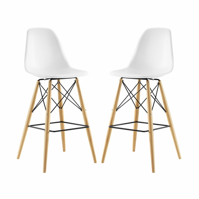 Set Of 2, Pyramid Deep Seat Molded Plastic Bar Chair w/ Wood Legs, White