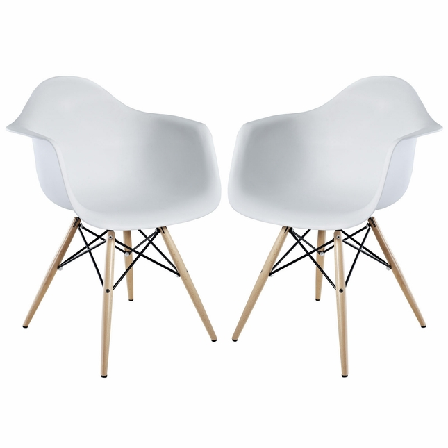Set Of 2  Pyramid Modern Molded Plastic Armchairs w  Wood Legs  White. Of 2  Pyramid Modern Molded Plastic Armchairs w  Wood Legs  White