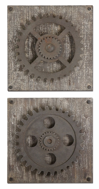 Set of 2 Rustic Gears Traditional Rustic Wall Art 13828