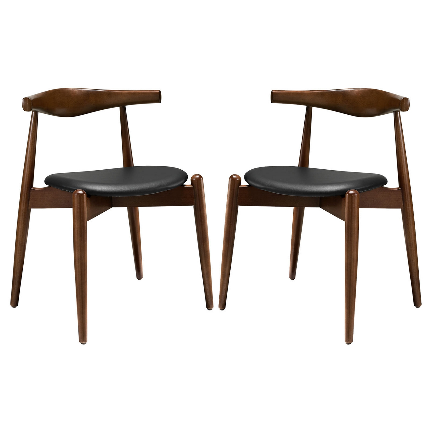 Set of 2 stalwart contemporary wood dining side chairs w for Upholstered dining chairs contemporary