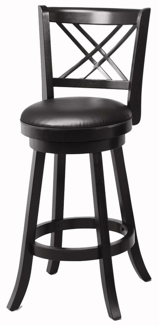 Set of 2 Swivel Seats Vinyl Upholstery Black 29 Inch Bar Stools