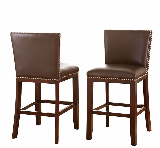 Set Of 2, Tiffany Hardwood Modern Gray Vinyl Counter Height Chairs