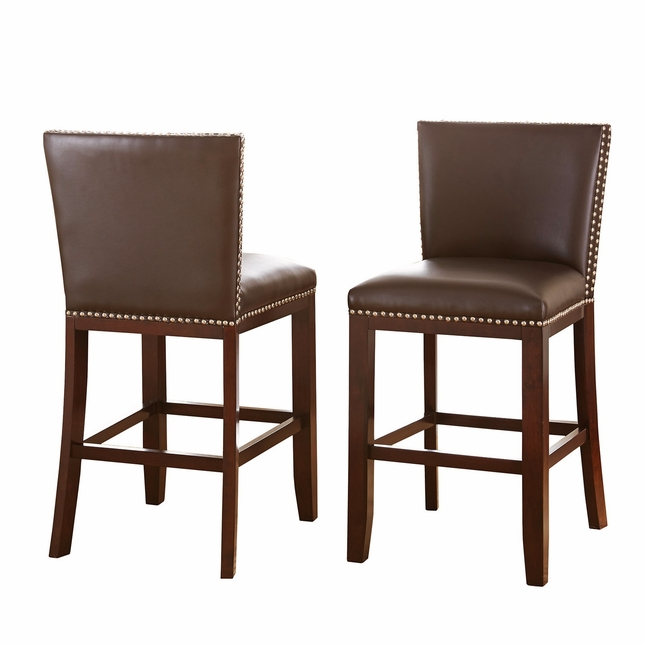Set Of 2, Tiffany Modern Hardwood Brown Vinyl Counter Height Chairs