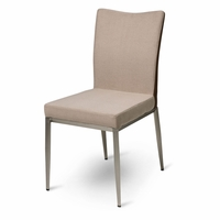 Set Of 2, Trance Elan Beige Fabric Dining Side Chairs With Stainless Steel  Feet