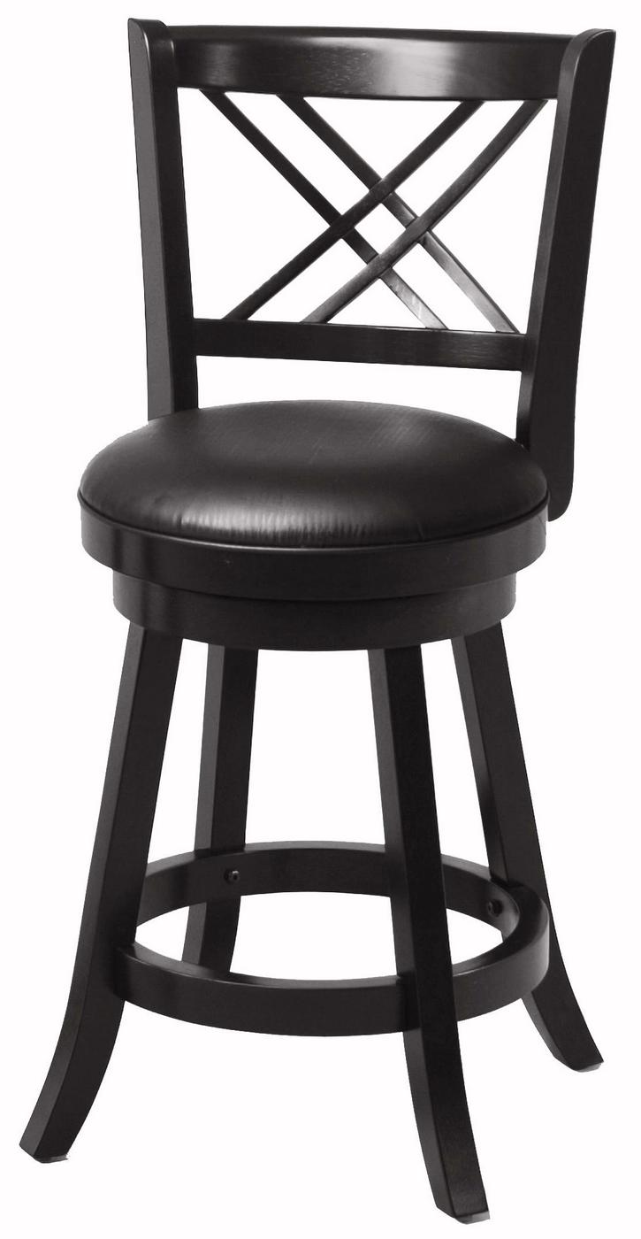 Set Of 2 Transitional Style Black Finish 24 Inch Bar Stools
