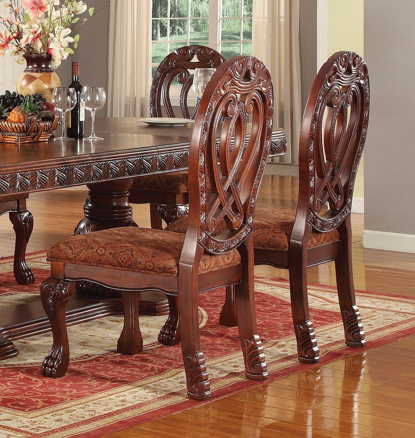 "Valyrian Classic 5-pc 76""-112"" Double Pedestal Dining Set"