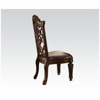 Set Of 2, Vendome Scrolled Wood Back Side Chair In Brown Faux Leather