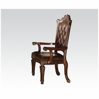 Set Of 2, Vendome Traditional Tufted Back Arm Chair In Brown Faux Leather