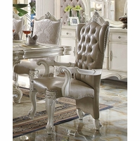 Set Of 2, Versailles Arm Chairs In Bone White Faux Leather And Fabric
