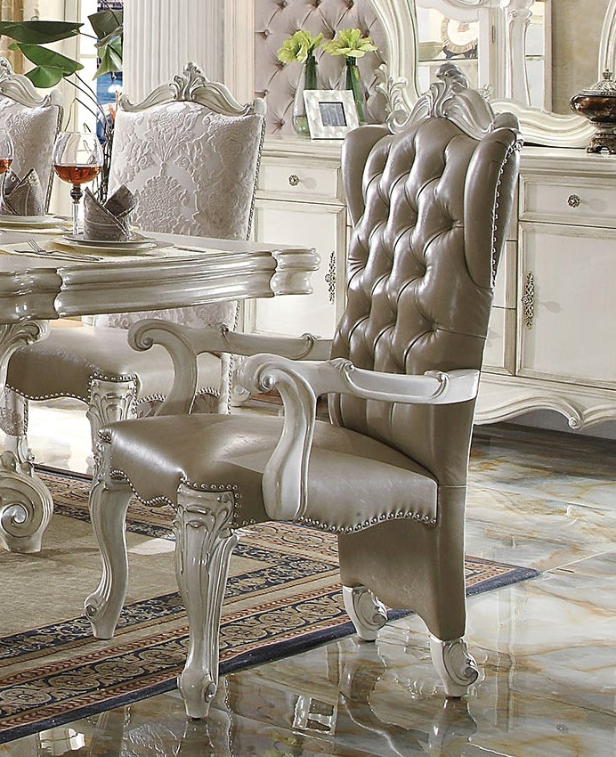 Porter Leather Chair Set Of 2: Set Of 2, Versailles Arm Chairs In Bone White Leather And