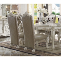 Set Of 2, Versailles Side Chairs In Bone White Faux Leather And Fabric