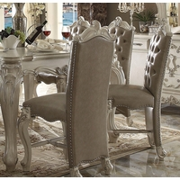 Set Of 2, Versailles Traditional Bone White Counter Height Chairs