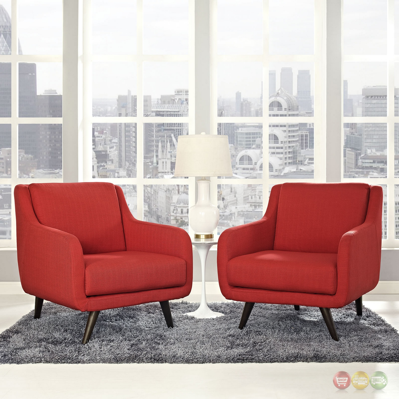 Set of 2 verve mid century modern upholstered armchairs w for Mid century modern armchairs