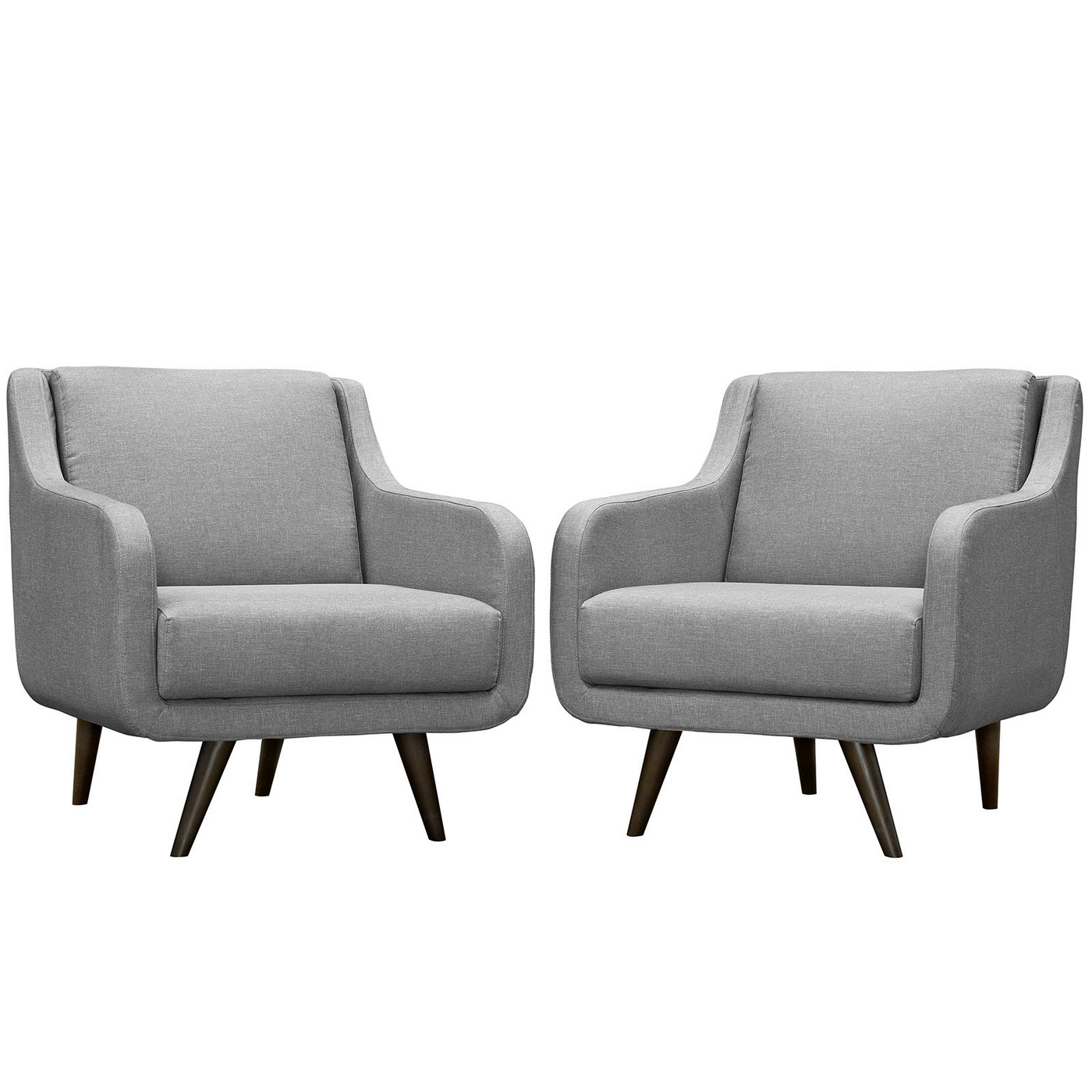Set Of 2, Verve Mid-Century Modern Upholstered Armchairs w ...