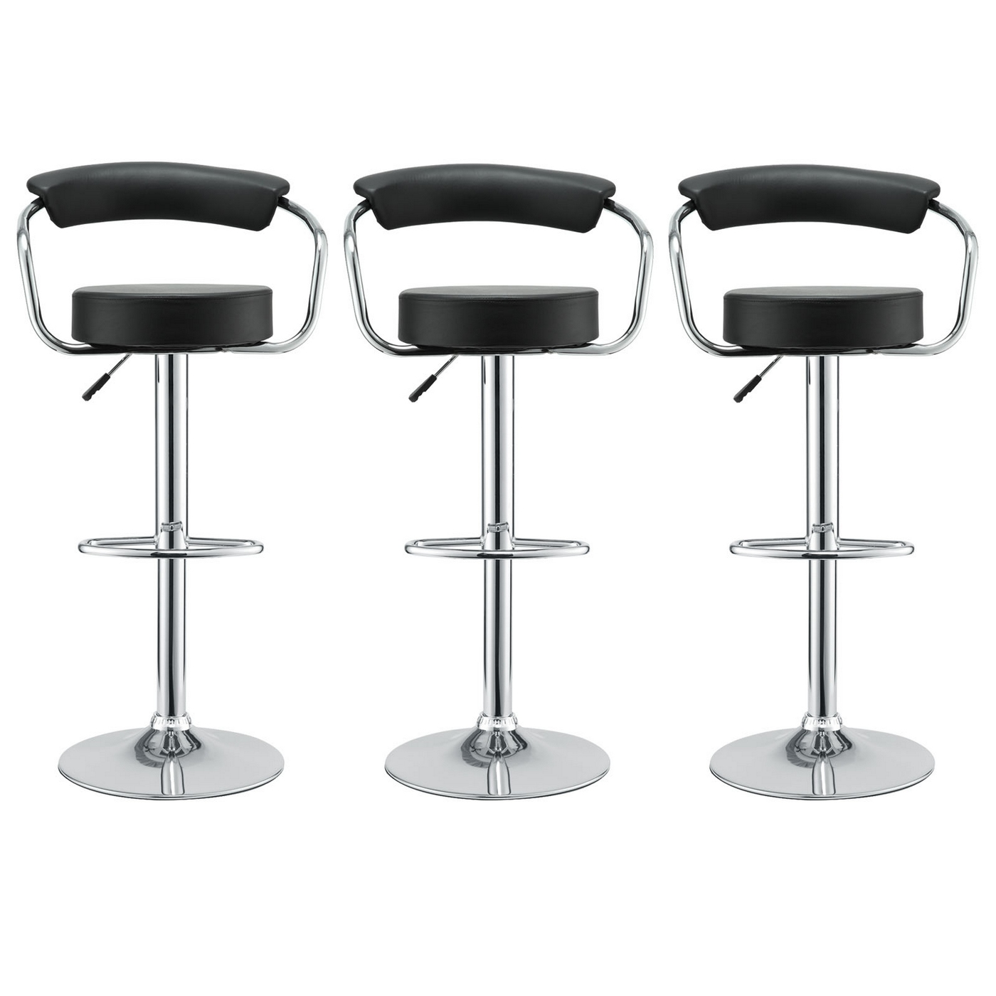 Set Of 3 Diner Modern Vinyl Upholstered Low Back Bar