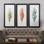"Set Of 3, Hand Painted Tricolor Leaves Wall Art On Pine Framed Canvas, 27""x55"""