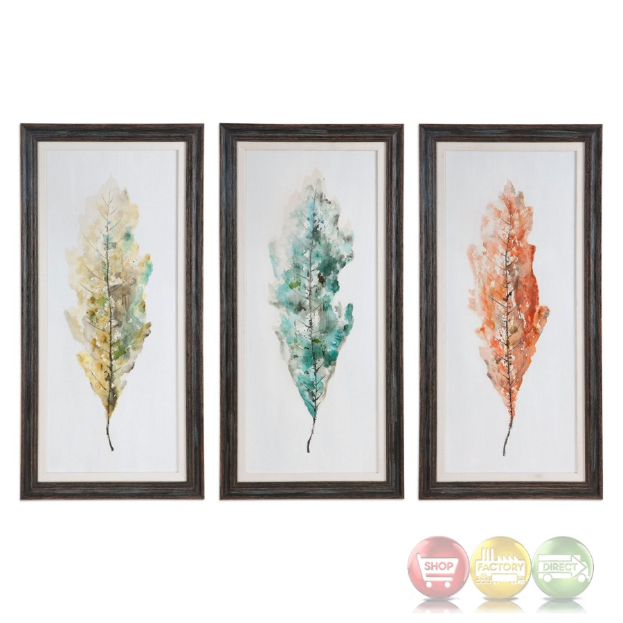 set of 3 hand painted tricolor leaves wall art on pine. Black Bedroom Furniture Sets. Home Design Ideas