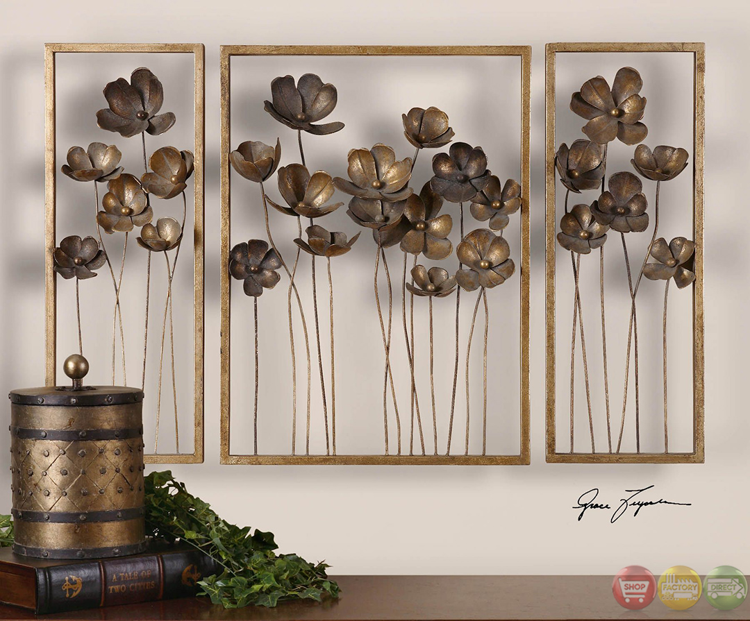 Set of 3 metal tulips traditional antiqued gold leaf wall for Decor direct