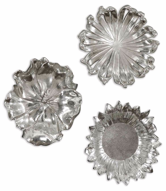Set of 3 Silver Flowers Contemporary Silver Plated Flower Designs Wall Art  08503