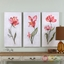 "Set Of 3, Springtime Promise Hand Painted Floral Art On Canvas, 20""x40"""