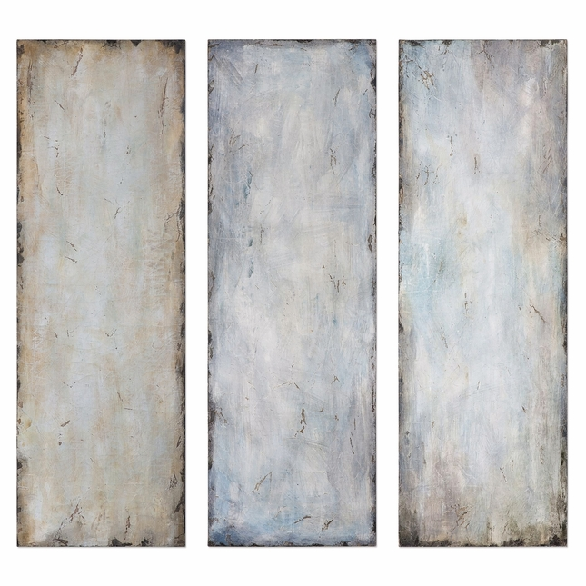 "Set of 3, Textured Trio Handpainted Abstract Blue And Beige Wall Art, 20""x60"""