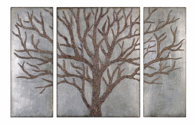 Set of 3 Winter View Traditional Rustic Brown Tree Design Wall Panel  13793