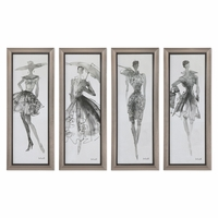 Wall art and dcor antique framed art shop factory direct set of 4 arsty fashion sketchbook lady model wall art in glass frame 16x40 gumiabroncs Image collections