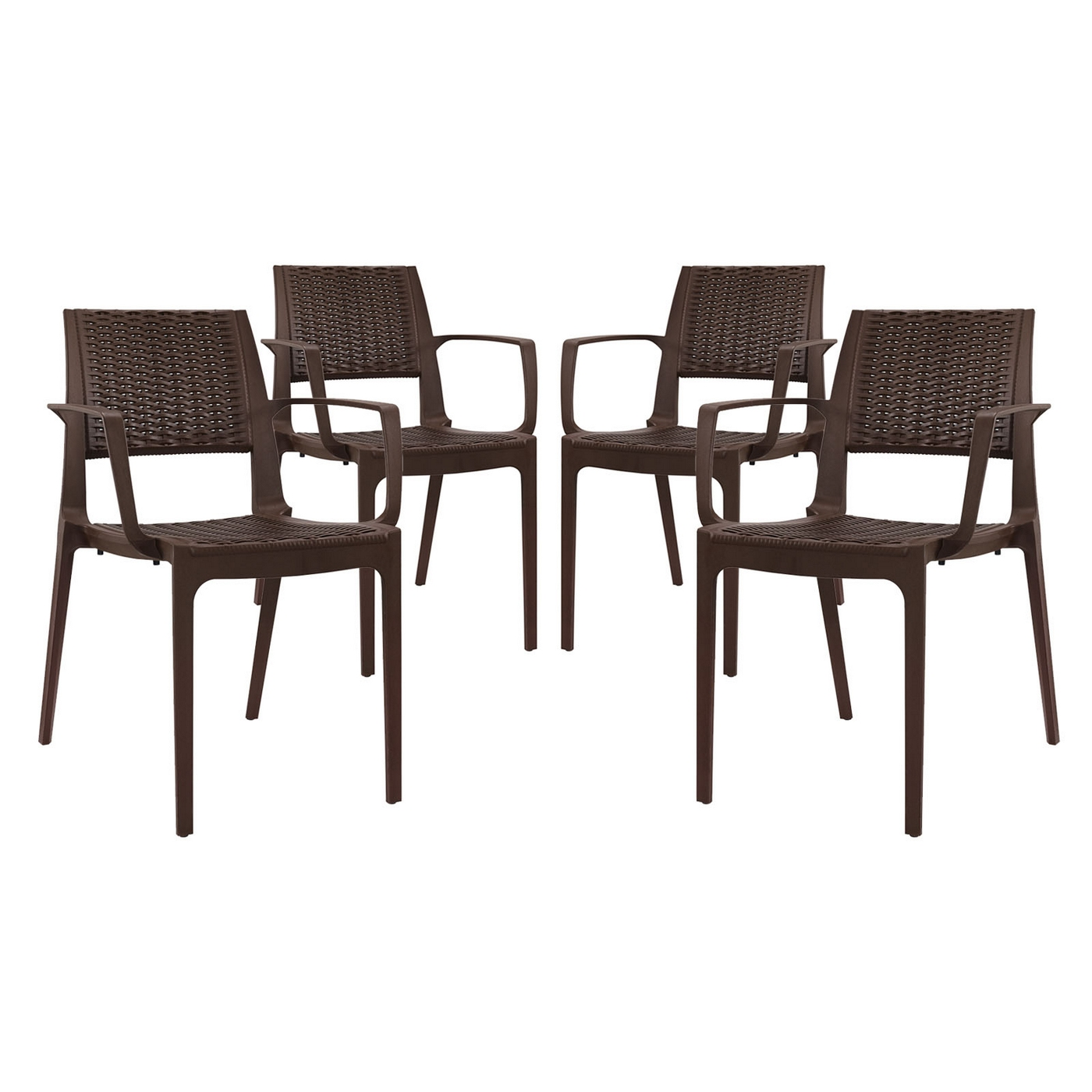 Set Of 4 Astute Durable Criss Cross Patterned Dining