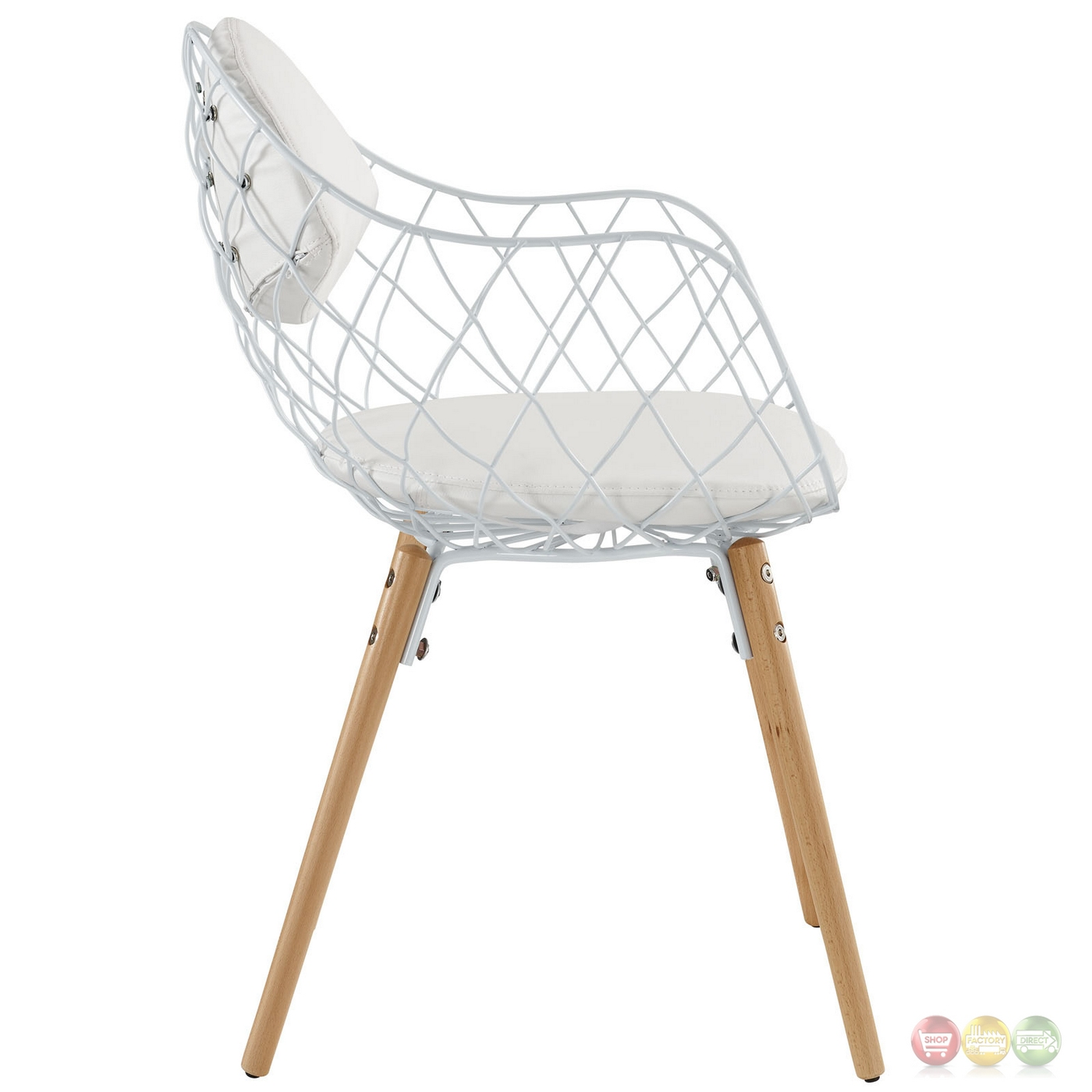 Set of 4 basket modern open wire weaved dining chair set for Modern metal chairs