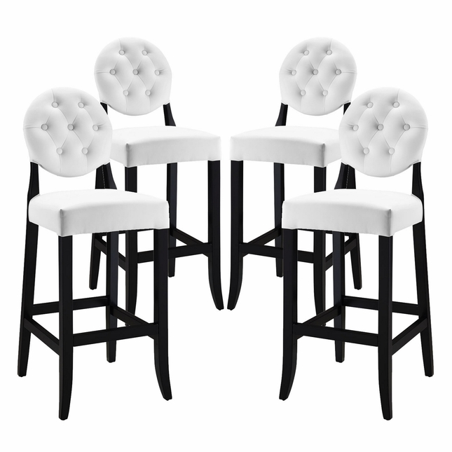 Set Of 4, Button Modern Vinyl Upholstered Button-tufted Bar Stool, White